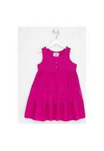 Vestido Infantil Com Renda E Tule - Tam 5 A 14 Anos | Fuzarka (5 A 14 Anos) | Rosa | 5-6