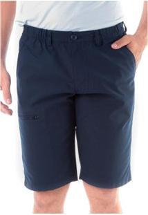 Bermuda Sarja Regular Cos De Elástico Traymon Masculina - Masculino-Marinho