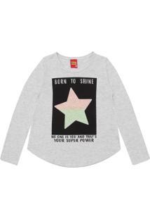 Camiseta Kyly Menina Estampado Cinza
