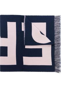 Burberry Cachecol De Lã Com Estampa De Logo - Azul