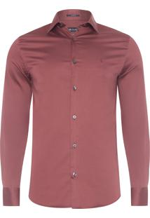 Camisa Masculina Lisa Cetim - Vermelho