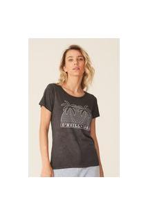 Camiseta Oneill Feminina Estampada Beach Bound Cinza Escuro