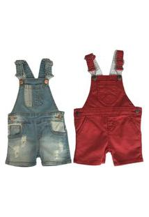 Kit 2 Pçs Macacão Jardineira Masculina Jeans/Bordô Infantil Mabu Denim