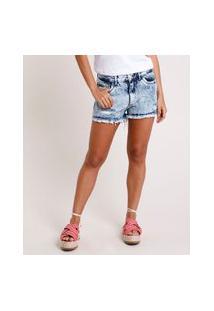 Short Jeans Feminino Boy Cintura Média Destroyed Com Barra Desfiada Azul Claro