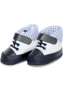 Tênis Cano Alto Sapatinhos Baby Azul-Marinho E Branca