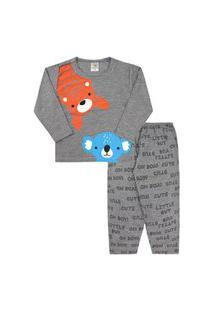 Pijama Bebê Masculino Camiseta Manga Longa E Calça Mescla Tigre E Coala (P/M/G) - Jidi Kids - Tamanho G - Mescla