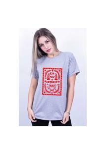 Camiseta Bilhan Corte A Fio You Deserve Joy Cinza