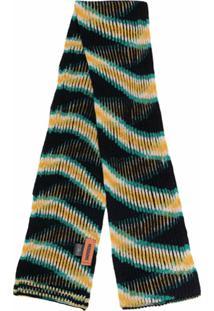 Missoni Cachecol De Lã Com Padronagem De Listras - Preto