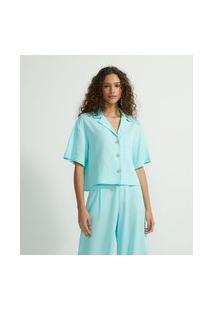 Camisa Manga Curta Em Linho Com Botões E Bolso | Blue Steel | Verde | Gg