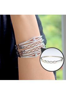 Bracelete Trançado Com Zircônias Prata Rodinada