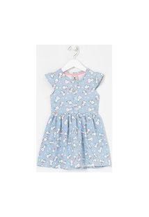 Vestido Infantil Em Molecotton Estampa De Gatinhos - Tam 1 A 5 Anos | Póim (1 A 5 Anos) | Azul | 02