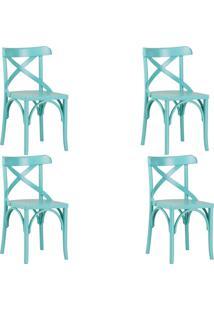 Kit 4 Cadeiras Decorativas Gran Belo Crift Turquesa