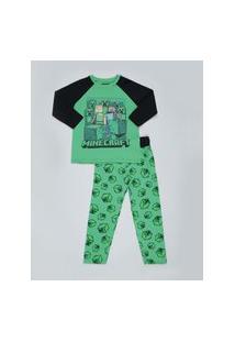 Pijama Infantil Minecraft Manga Longa Verde