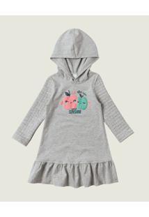 Vestido Cotton Menina Malwee Kids Cinza Claro - G