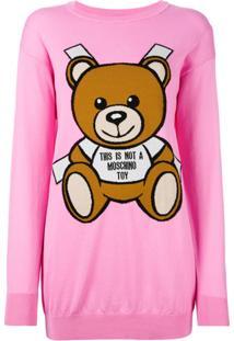 Moschino Vestido Com Estampa Do Urso Teddy - Pink & Purple