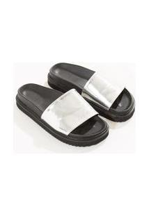 Sandalia Chinelo Metalizada Prata