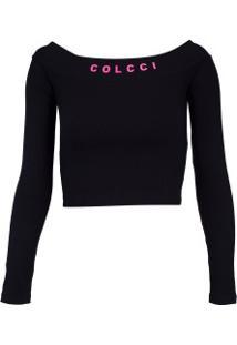 Camiseta Manga Longa Colcci Pretty Canelada - Feminina - Preto
