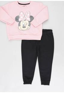 Conjunto Infantil Minnie De Blusão Rosa + Calça Em Moletom Preta