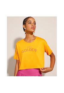 "Camiseta De Viscose Cropped ""Golden"" Manga Curta Laranja"