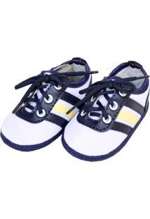Tênis Moderno Sapatinhos Baby Azul-Marinho E Branca