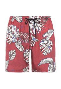 Short Masculino Boardshorts Rood Blad - Vermelho
