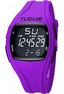Relógio Tuguir Digital Tg1602 - Roxo E Preto
