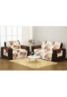 Protetor Sofa Estampado 3 E 2 Lugares Floral Tabaco Enxovais Aquarela