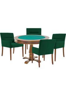 Mesa De Jogos Carteado Victoria Redonda Tampo Reversível Amêndoa Com 4 Cadeiras Vicenza Verde - Gran Belo