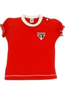 Baby Look Reve D'Or Sport Cores Clube São Paulo Vermelha E Branca