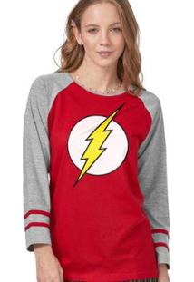 Camiseta Manga Longa Feminina The Flash Logo - Feminino