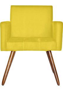 Poltrona Decorativa Kasa Sofá Vitoria Suede Amarelo