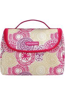 Bolsa Térmica Com Alça- Branca & Pink- 16X22X12Cm