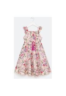 Vestido Infantil Estampa Floral Amarração Com Tassel - Tam 5 A 14 Anos | Fuzarka (5 A 14 Anos) | Rosa | 11-12