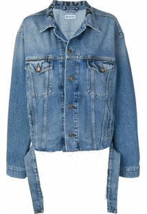 Balenciaga Jaqueta Jeans Com Ajuste Na Cintura - Azul
