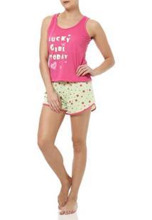 Pijama Curto Feminino Rosa/Verde