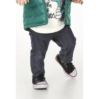 00ac408624 Calça Infantil Bebê Menino Em Malha Jeans Puc