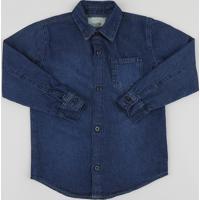 Camisa Jeans Infantil Com Bolso Manga Longa Azul Escuro e820ab19fa10e