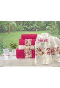Jogo De Banho Floral Bordado Passione 05 Peças - Pink E Palha