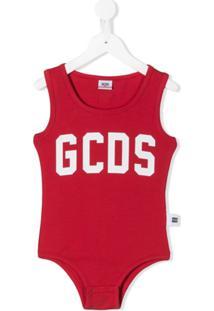 Gcds Kids Body Slim Com Estampa De Logo - Vermelho