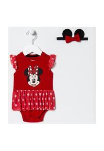 Vestido Body Infantil Minnie Com Sainha De Tule E Faixa De Cabelo - Tam 0 A 18 Meses   Teddy Boom (0 A 18 Meses)   Vermelho   12-18M