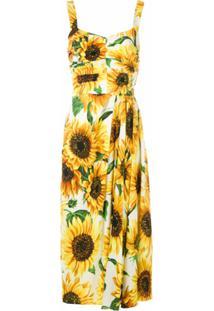 Dolce & Gabbana Vestido Midi Estampado - Amarelo