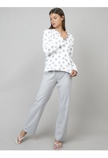 Pijama De Inverno Feminino Em Fleece Estampado Poá Manga Longa Branco