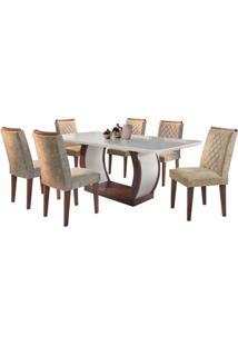 Sala De Jantar Jade 1.80M Com 6 Cadeiras Café/Off White Sued Amassado Chocolate