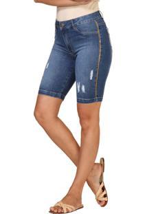 Bermudã£O Jeans Lãºcia Figueredo Ciclista Azul - Azul - Feminino - Dafiti