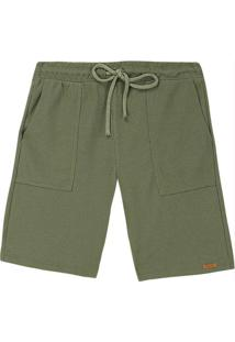 Bermuda Verde Militar Comfort Texturizada