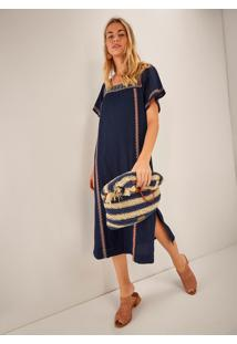 Vestido Midi Bordado Azul Marinho