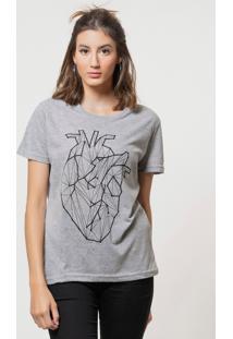 Camiseta Joss Básica Coração Vivo Cinza Mescla