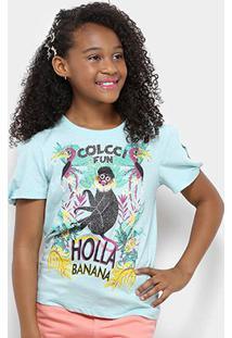 Camiseta Infantil Colcci Fun Estampada Macaco Feminina - Feminino