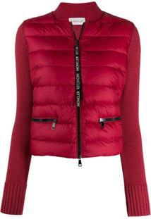 Moncler Padded Front Cropped Jacket - Vermelho