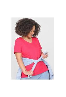 Camiseta Basicamente. Plus Size Lisa Pink